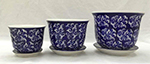 Blue/white Paisley pot & saucer