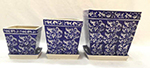 Blue/White Paisley Square pot & saucer